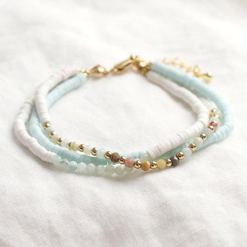 Triple Layer Aqua & White Beaded Bracelet