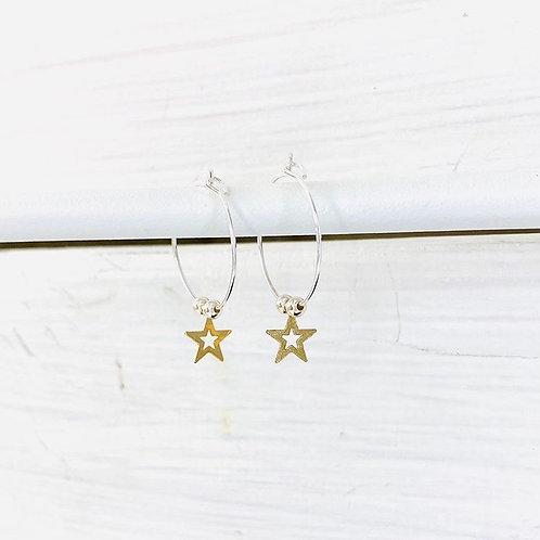 Gold Open Star & Silver Bead Earrings