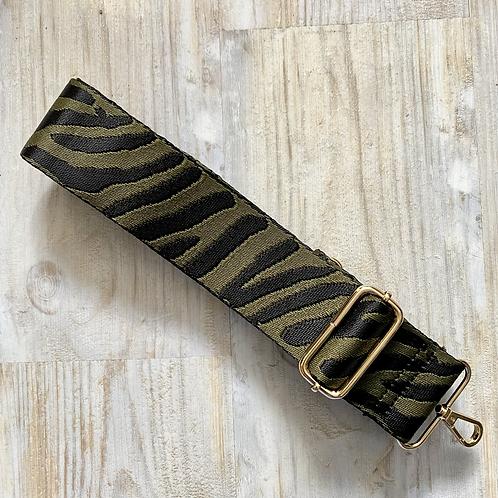 Khaki Zebra Print Bag Strap - Gold Hardware