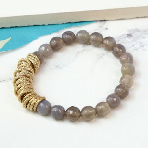 Smoky Bead And Golden Ring Bracelet