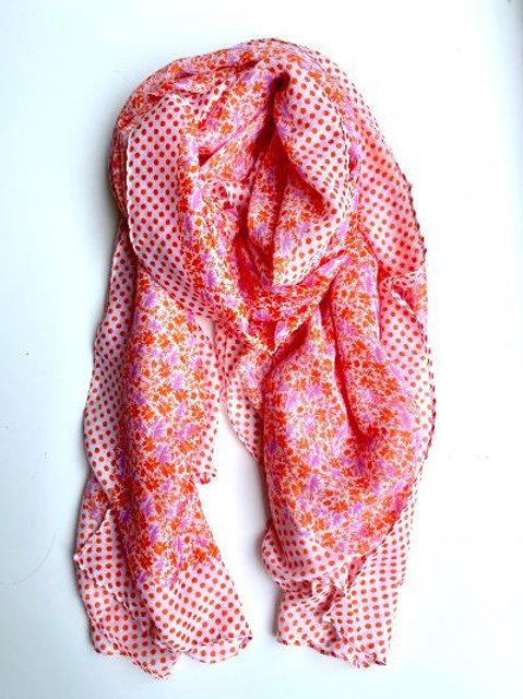 Orange & Pink Floral Spot Scarf