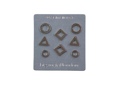 Mirielle Geometrical Silver Stud Earrings Pack