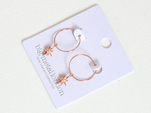Ilaria Tiny Star Rose Gold Delicate Hoop Earrings