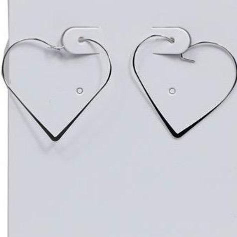 Morgan Silver Heart Hoop Earrings