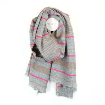 Grey & Pink Stripe Blanket Scarf