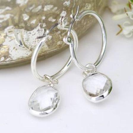 Clear Crystal Drop Hoop Earrings