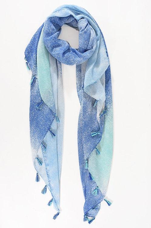 Blue Ombre Tassel Scarf