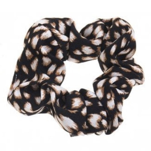Black Animal Print Hair Scrunchie