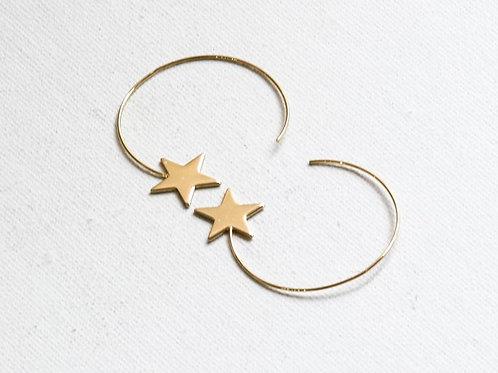 Vivianne Gold Star Pull Through Earrings