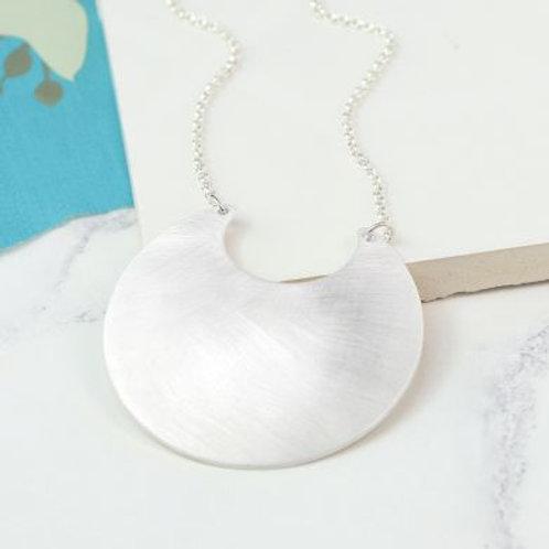 Matte Silver Crescent Long Necklace