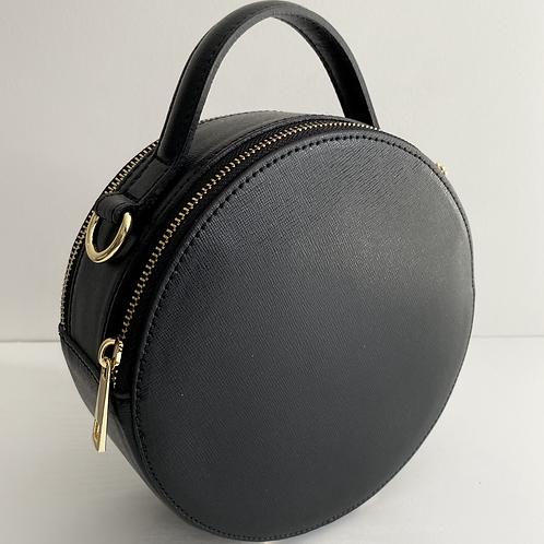 Black Circular Handheld/Crossbody Bag