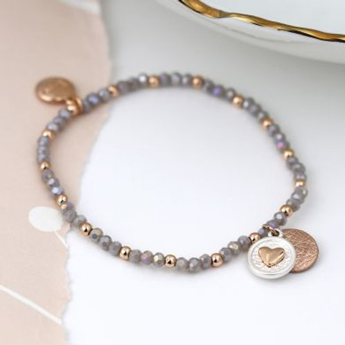 Grey & Rose Gold Beaded Bracelet with Heart Disc