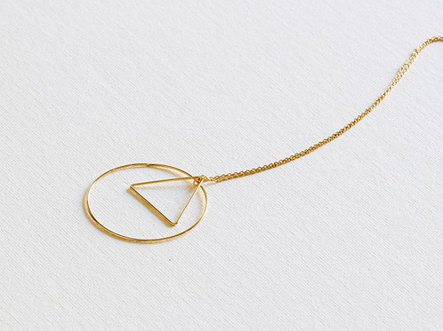Adeline Triangle & Circle Gold Necklace