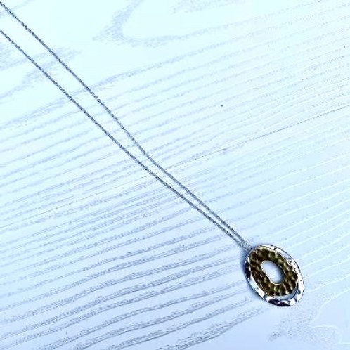 Silver & Gold Hammered Oval Long Necklace