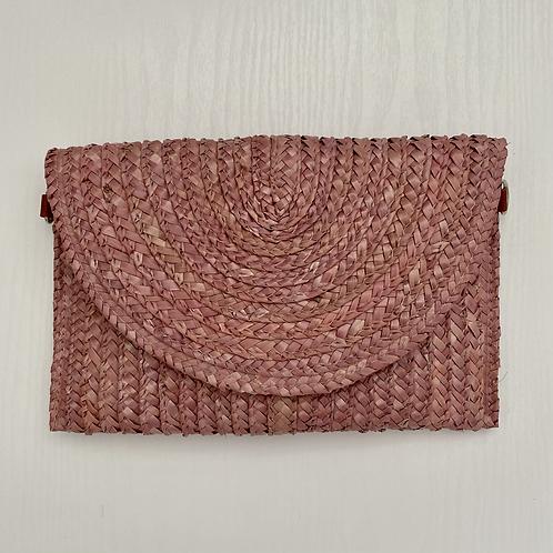 Pink Straw Clutch Bag