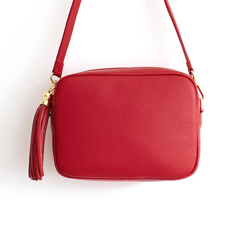 Red Cross Body Bag with Tassel