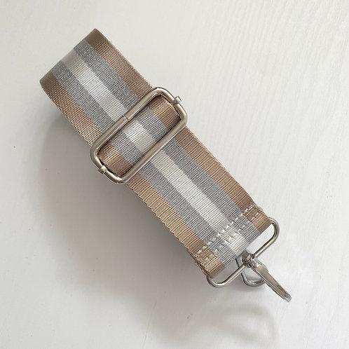 Taupe & Silver Stripe Strap - Silver Hardware