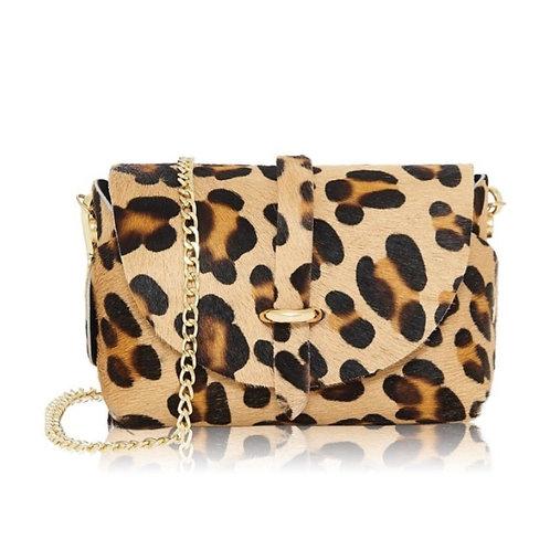 Leopard Print Gold Chain Strap Bag