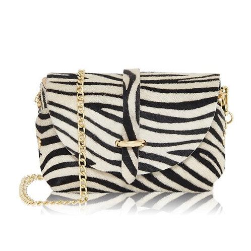 Zebra Print Gold Chain Strap Bag