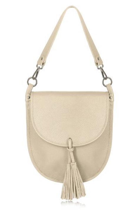 Cream Tassel Tote/ Crossbody Bag