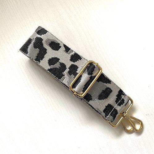 Silver Animal Print Bag Strap - Gold Hardware
