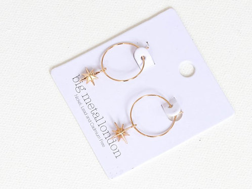 Ilaria Tiny Star Gold Delicate Hoop Earrings