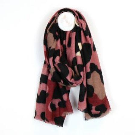Burgundy & Pink Animal Print Blanket Scarf