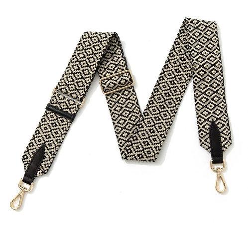 Black & White Geometric Strap - Gold Hardware