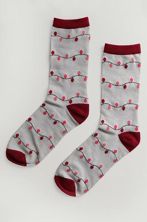 Light String Print Socks