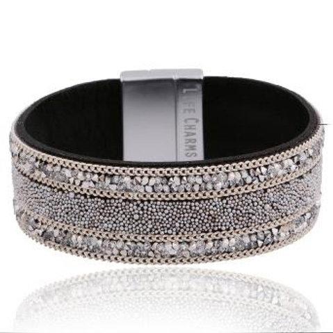 Silver Bead & Sparkle Wrap Bracelet