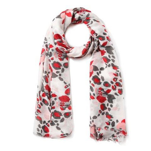Red Leopard Floral Scarf