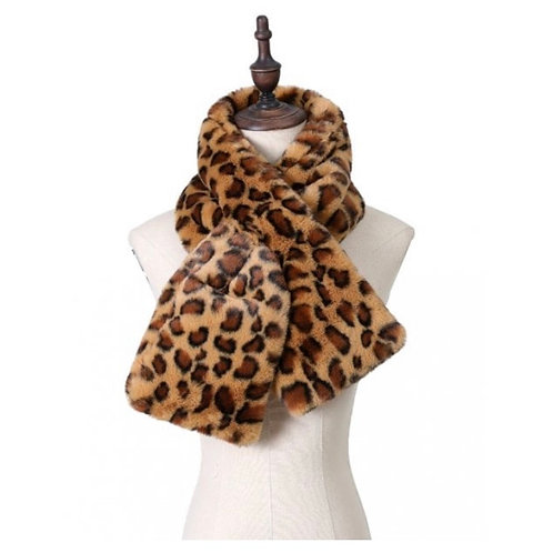 Leopard Print Faux Fur Scarf