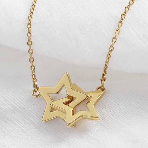 Gold Interlocking Star Necklace