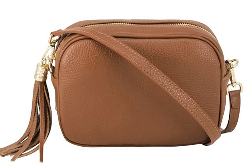 Dark Tan Crossbody Bag with Tassel