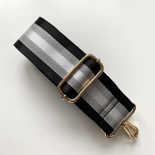 Black, White & Silver Stripe Bag Strap - Gold Hardware