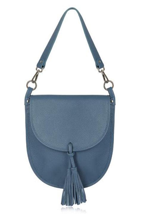 Denim Tassel Tote/ Crossbody Bag