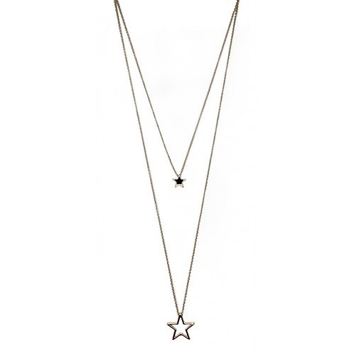 Gold Double Layered Star Long Necklace