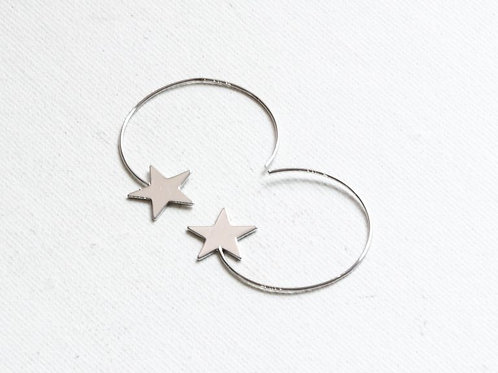 Vivianne Silver Star Pull Through Earrings