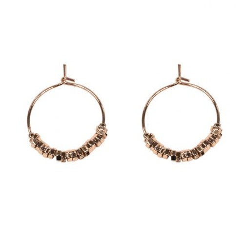 Clover Rose Gold Beaded Hoop Earrings