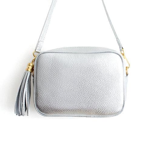 Silver Crossbody Bag with Tassel
