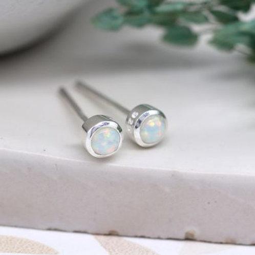Tiny Sterling Silver Opal Stud Earrings