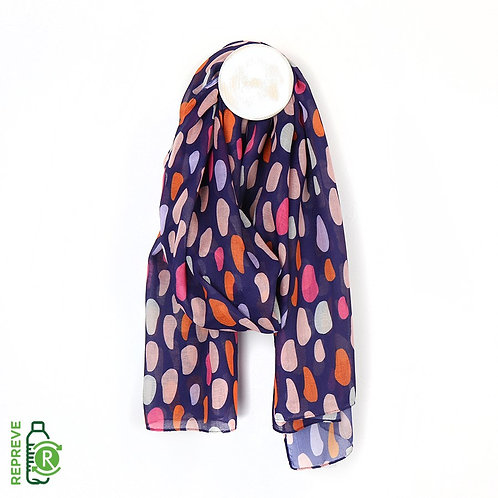 Blue Oval Print Scarf