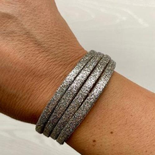 Silver Glitter Wrap Bracelet