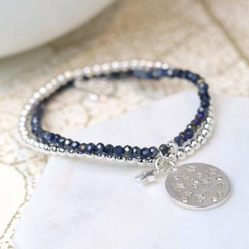 Silver & Blue Beaded Double Strand Star bracelet