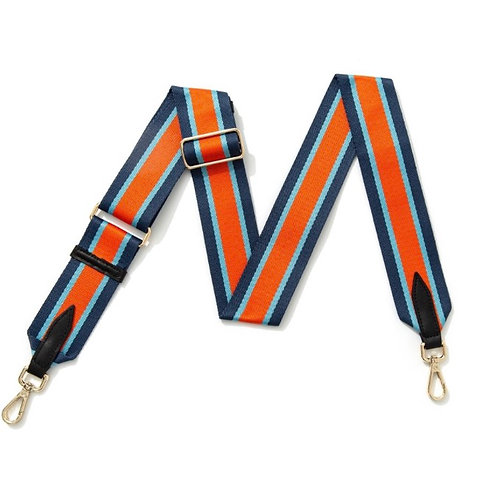 Navy, Blue & Orange Stripe Bag Strap - Gold Hardware