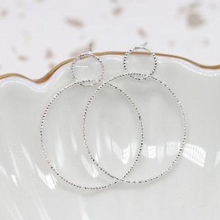 Silver Texture Hoop Stud Earrings