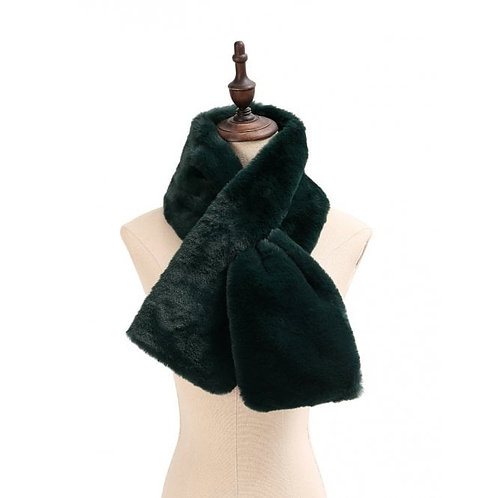 Dark Green Faux Fur Scarf