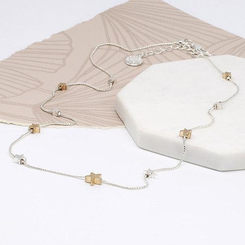 Silver & Gold Star Fine Chain Necklace