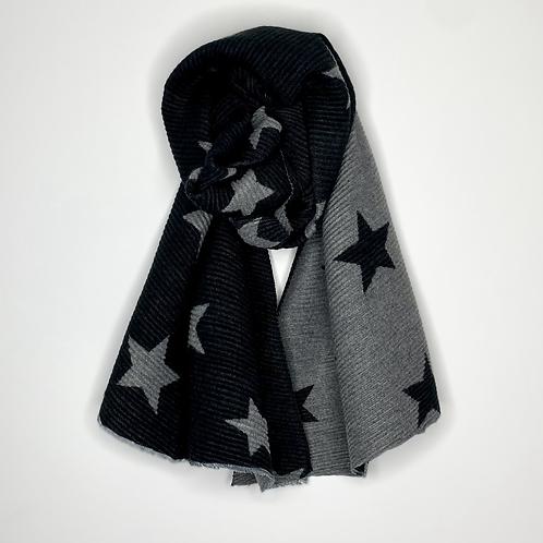 Black & Grey Reversible Star Scarf