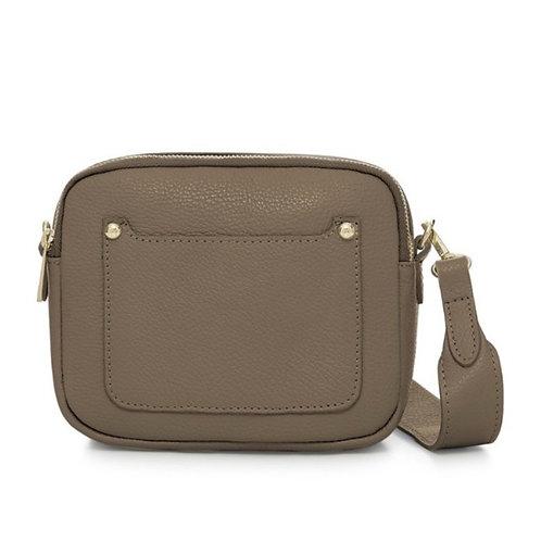 Dark Taupe Double Zip Crossbody Bag